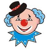 Clown, Kopf des Schauspielers Clown mit Hut Stockbilder