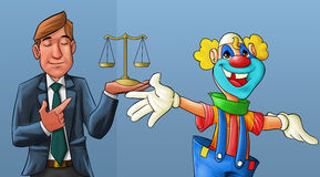 Clown and lawyer. Clown smiling and a lawyer with his eyes closed behind him Stock Photography