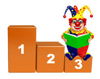 Clown with 123 Level & book. 3d rendered illustration of Clown with 123 Level & book Royalty Free Stock Images