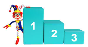 Clown with 123 Level. 3d rendered illustration of Clown with 123 Level Stock Photo