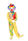 Clown. Little girl dressed as a clown isolated in white royalty free stock image