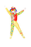 Clown. Little girl dressed as a clown isolated in white stock images