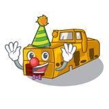 Clown locomotive mine cartoon toy above table. Vector illustration royalty free illustration