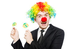 Clown with lollipop Stock Photos
