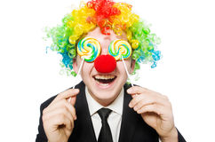 Clown with lollipop Royalty Free Stock Photo
