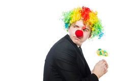 Clown with lollipop Royalty Free Stock Images