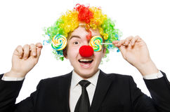 Clown with lollipop Royalty Free Stock Photos