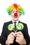 Clown with lollipop Royalty Free Stock Image