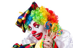 Clown with lollipop isolated Stock Photo