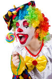 Clown with lollipop isolated Royalty Free Stock Photos