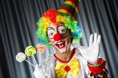 Clown with lollipops Royalty Free Stock Images