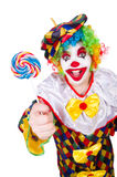 Clown with lollipops. Isolated on white Stock Photography