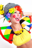 Clown looking to the copy space area Stock Images