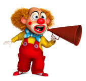Clown and loudhailer. 3d cartoon cute holiday clown Stock Image