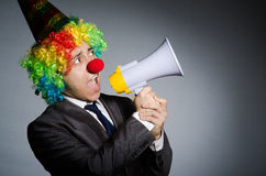 Clown with loudspeaker Royalty Free Stock Photos
