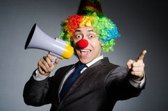 Clown with loudspeaker Stock Image