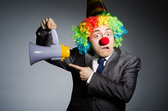 Clown with loudspeaker Royalty Free Stock Photography