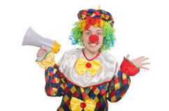 Clown with loudspeaker isolated on white Stock Images