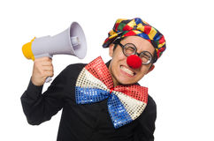 The clown with loudspeaker isolated on white Royalty Free Stock Images