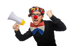 The clown with loudspeaker isolated on white Stock Images