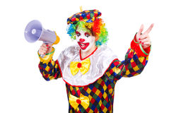Clown with loudspeaker Royalty Free Stock Images