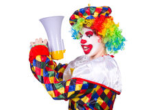 Clown with loudspeaker Royalty Free Stock Image