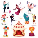 Clown and magician near circus tent or camp. Circus tent, camp or amusement arena. Lion and elephant on ball, strong man with barbell on rod, magician or Royalty Free Stock Image