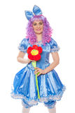 Clown in a Malvina suit with flower Royalty Free Stock Images