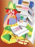 Clown mangeant le gâteau Image libre de droits
