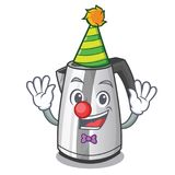Clown mascot cartoon household kitchen electric kettle. Vector illustration royalty free illustration