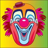 CLOWN MASK. Color vector image of clown mask on a yellow-green background Royalty Free Stock Image