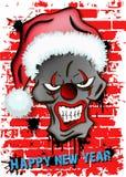 Clown mauvais effrayant de crâne dans le chapeau de Santa Images libres de droits