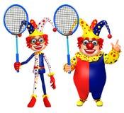 Clown med badminton Royaltyfri Bild