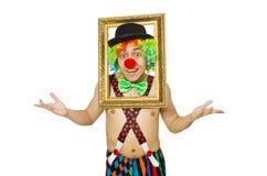 Clown med bildramen Arkivbilder