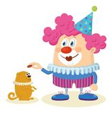 Clown med den utbildade hunden Royaltyfri Bild