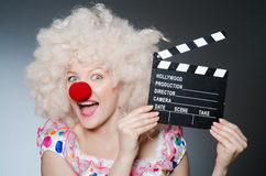 Clown med film Royaltyfri Fotografi