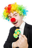 Clown med klubban Arkivfoto