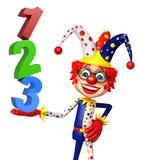 Clown med med tecken 123 royaltyfri illustrationer