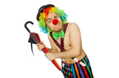 Clown med paraplyet Royaltyfri Foto