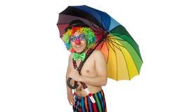 Clown med paraplyet Arkivbild