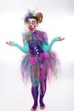 Clown med slagbubblor Arkivbild