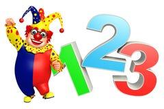 Clown med tecken 123 royaltyfri illustrationer