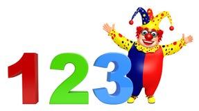 Clown med tecken 123 Arkivfoton