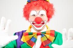 Clown med vita handskar Royaltyfri Foto