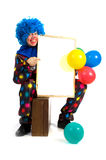 Clown with memo board Royalty Free Stock Photography