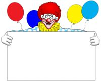 Clown message. Clip-art illustration of a clown with blank message box Stock Images