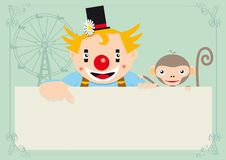 Clown met aap Stock Afbeeldingen