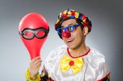 Clown met ballons in grappig concept Stock Foto