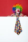 Clown met band op lege witte raad Stock Foto's
