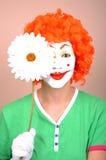 Clown met bloem Royalty-vrije Stock Afbeeldingen